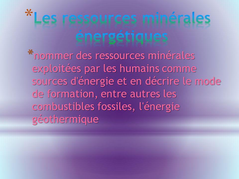 * nommer des ressources minérales exploitées par les humains comme sources d énergie et en décrire le mode de formation, entre autres les combustibles fossiles, l énergie géothermique
