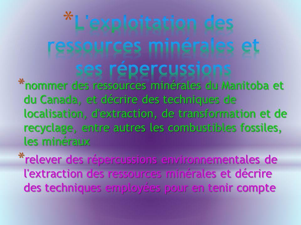 * nommer des ressources minérales du Manitoba et du Canada, et décrire des techniques de localisation, d extraction, de transformation et de recyclage, entre autres les combustibles fossiles, les minéraux * relever des répercussions environnementales de l extraction des ressources minérales et décrire des techniques employées pour en tenir compte