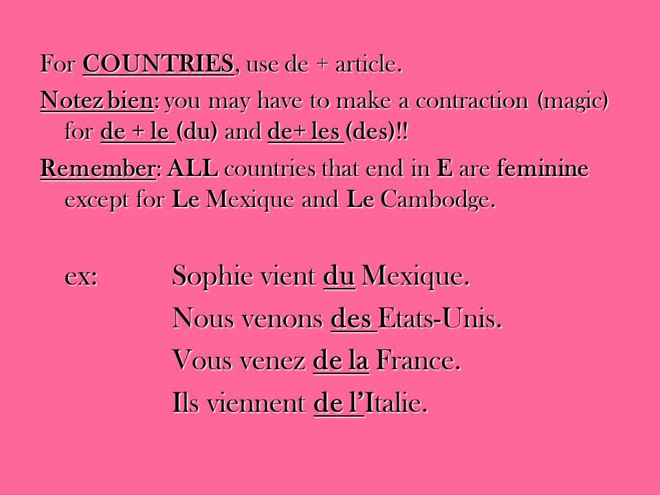 For COUNTRIES, use de + article. Notez bien: you may have to make a contraction (magic) for de + le (du) and de+ les (des)!! Remember: ALL countries t