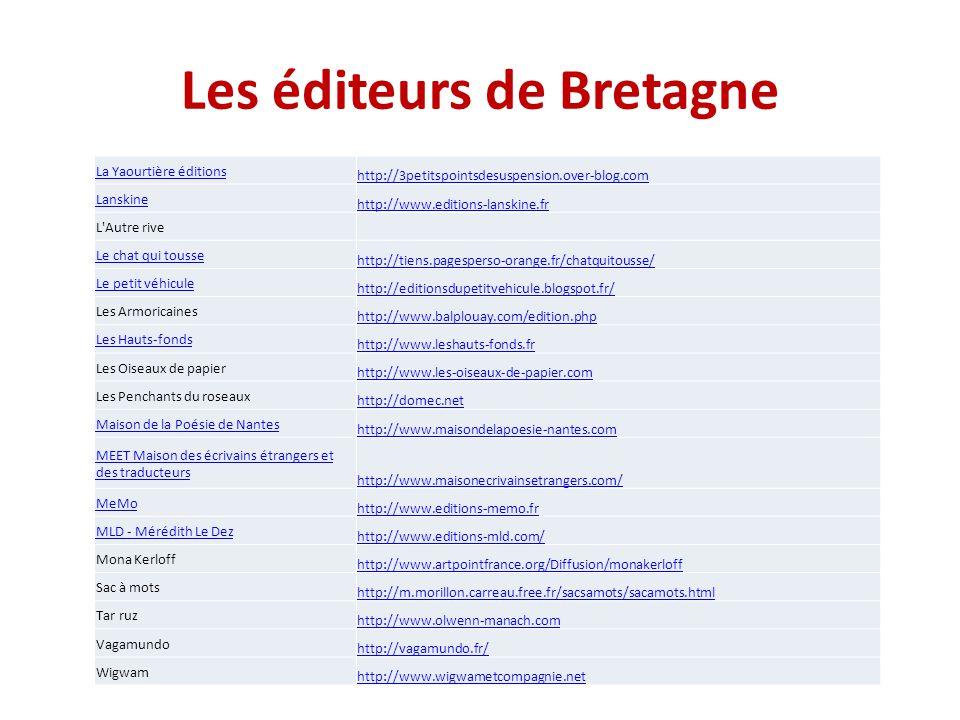 Les éditeurs de Bretagne La Yaourtière éditions http://3petitspointsdesuspension.over-blog.com Lanskine http://www.editions-lanskine.fr L Autre rive Le chat qui tousse http://tiens.pagesperso-orange.fr/chatquitousse/ Le petit véhicule http://editionsdupetitvehicule.blogspot.fr/ Les Armoricaines http://www.balplouay.com/edition.php Les Hauts-fonds http://www.leshauts-fonds.fr Les Oiseaux de papier http://www.les-oiseaux-de-papier.com Les Penchants du roseaux http://domec.net Maison de la Poésie de Nantes http://www.maisondelapoesie-nantes.com MEET Maison des écrivains étrangers et des traducteurs http://www.maisonecrivainsetrangers.com/ MeMo http://www.editions-memo.fr MLD - Mérédith Le Dez http://www.editions-mld.com/ Mona Kerloff http://www.artpointfrance.org/Diffusion/monakerloff Sac à mots http://m.morillon.carreau.free.fr/sacsamots/sacamots.html Tar ruz http://www.olwenn-manach.com Vagamundo http://vagamundo.fr/ Wigwam http://www.wigwametcompagnie.net