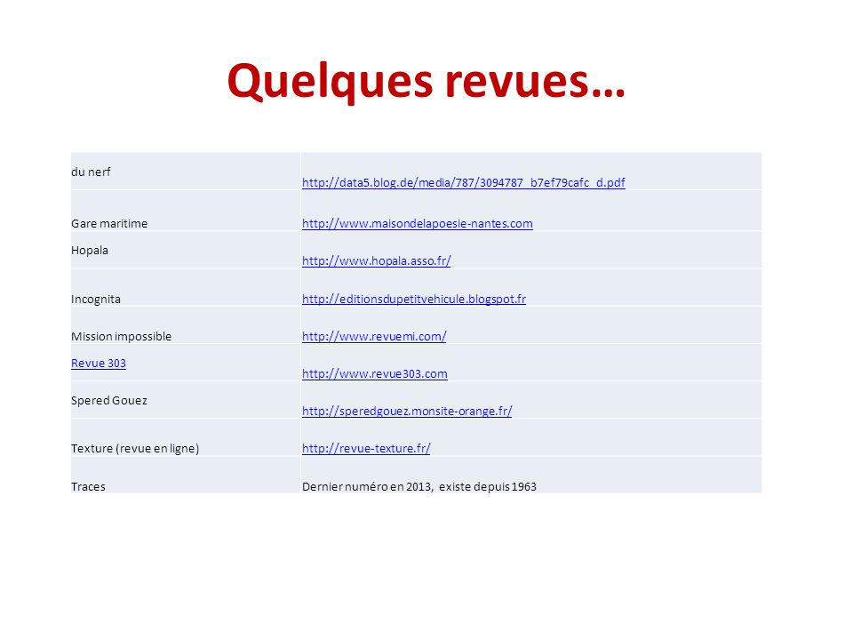 Quelques revues… du nerf http://data5.blog.de/media/787/3094787_b7ef79cafc_d.pdf Gare maritimehttp://www.maisondelapoesie-nantes.com Hopala http://www.hopala.asso.fr/ Incognitahttp://editionsdupetitvehicule.blogspot.fr Mission impossiblehttp://www.revuemi.com/ Revue 303 http://www.revue303.com Spered Gouez http://speredgouez.monsite-orange.fr/ Texture (revue en ligne)http://revue-texture.fr/ TracesDernier numéro en 2013, existe depuis 1963