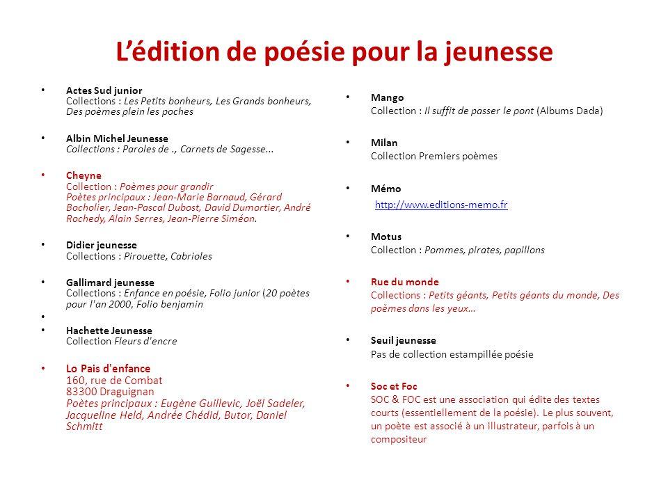 L'édition de poésie pour la jeunesse Actes Sud junior Collections : Les Petits bonheurs, Les Grands bonheurs, Des poèmes plein les poches Albin Michel