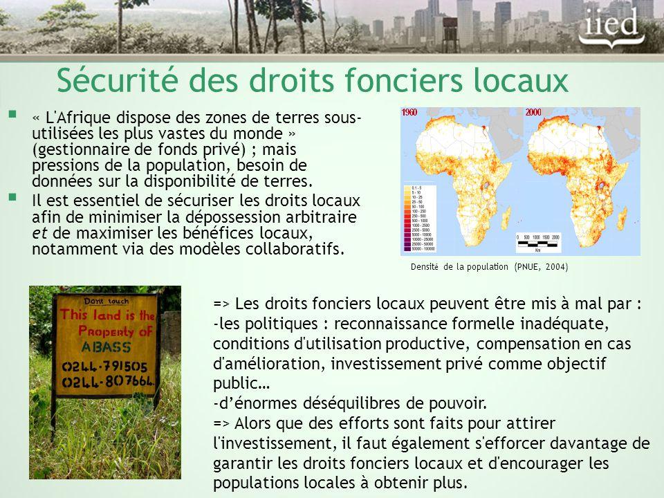 Sécurité des droits fonciers locaux Densit é de la population (PNUE, 2004)  « L Afrique dispose des zones de terres sous- utilisées les plus vastes du monde » (gestionnaire de fonds privé) ; mais pressions de la population, besoin de données sur la disponibilité de terres.