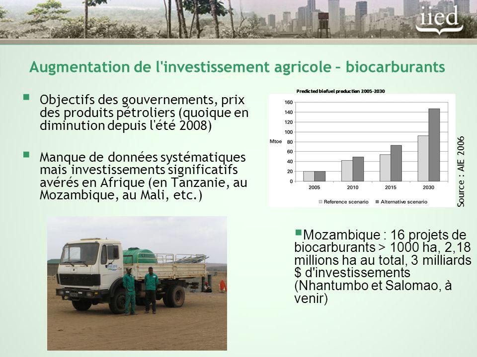 Augmentation de l investissement agricole – biocarburants  Objectifs des gouvernements, prix des produits pétroliers (quoique en diminution depuis l été 2008)  Manque de données systématiques mais investissements significatifs avérés en Afrique (en Tanzanie, au Mozambique, au Mali, etc.) Source : AIE 2006  Mozambique : 16 projets de biocarburants > 1000 ha, 2,18 millions ha au total, 3 milliards $ d investissements (Nhantumbo et Salomao, à venir)