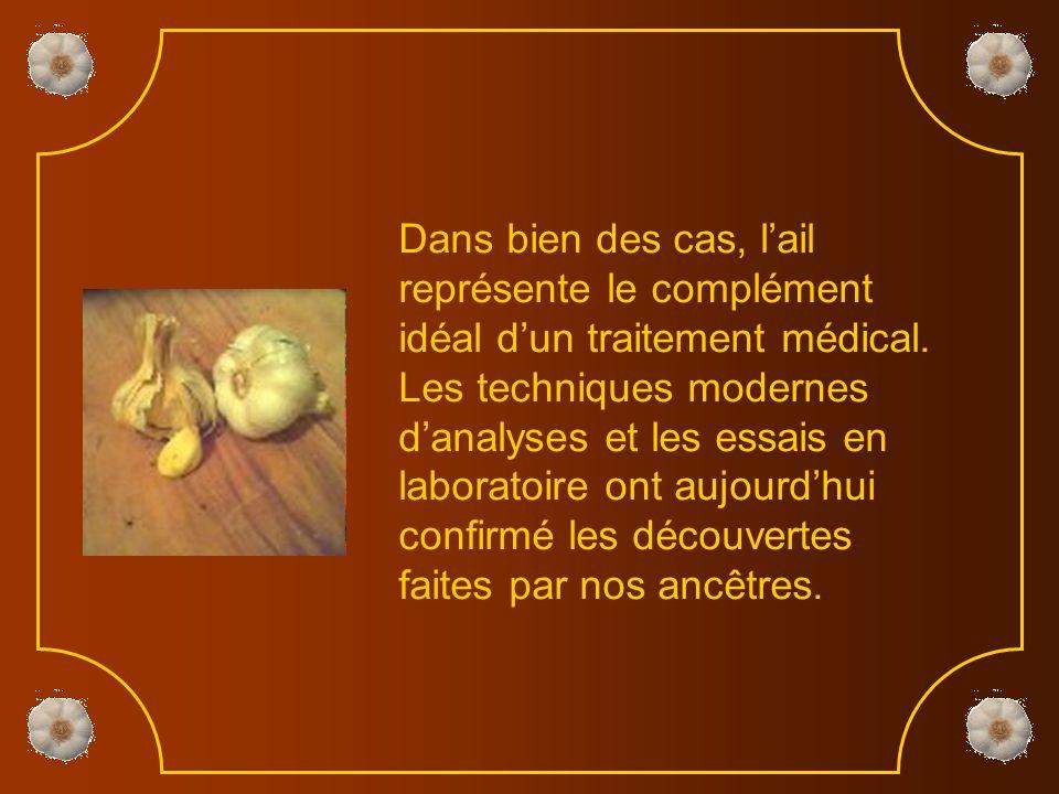 Dans bien des cas, l'ail représente le complément idéal d'un traitement médical.