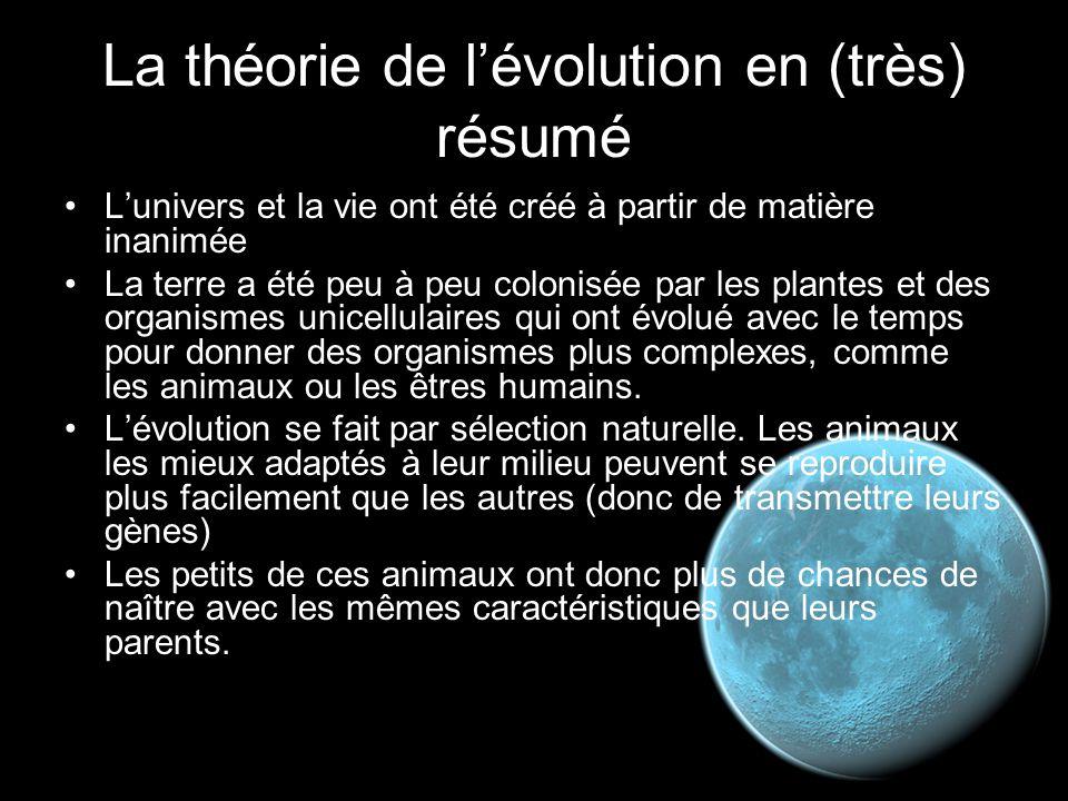 La théorie de l'évolution en (très) résumé L'univers et la vie ont été créé à partir de matière inanimée La terre a été peu à peu colonisée par les pl