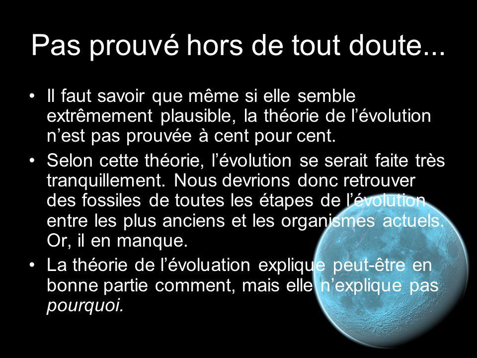 Pas prouvé hors de tout doute... Il faut savoir que même si elle semble extrêmement plausible, la théorie de l'évolution n'est pas prouvée à cent pour
