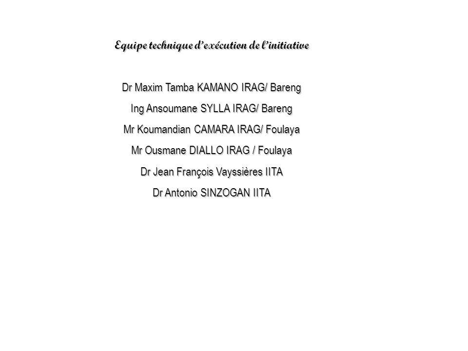 Equipe technique d'exécution de l'initiative Dr Maxim Tamba KAMANO IRAG/ Bareng Ing Ansoumane SYLLA IRAG/ Bareng Mr Koumandian CAMARA IRAG/ Foulaya Mr