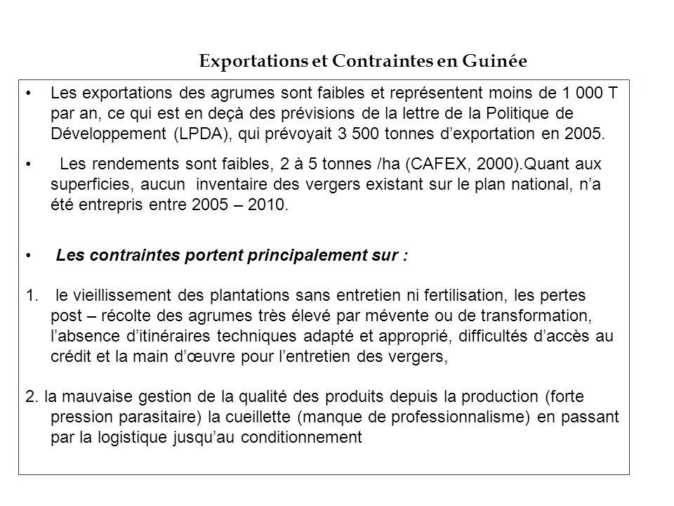 Exportations et Contraintes en Guinée Les exportations des agrumes sont faibles et représentent moins de 1 000 T par an, ce qui est en deçà des prévis