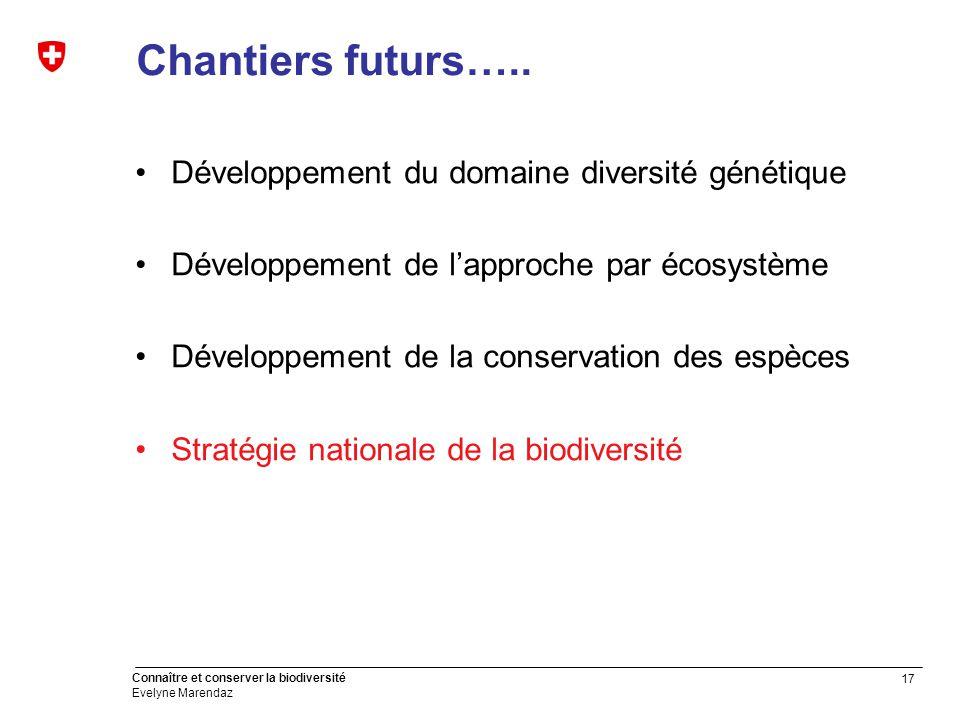 17 Connaître et conserver la biodiversité Evelyne Marendaz Chantiers futurs…..