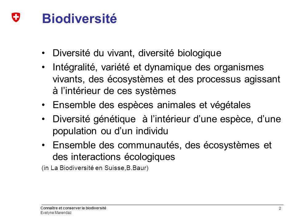 2 Connaître et conserver la biodiversité Evelyne Marendaz Biodiversité Diversité du vivant, diversité biologique Intégralité, variété et dynamique des organismes vivants, des écosystèmes et des processus agissant à l'intérieur de ces systèmes Ensemble des espèces animales et végétales Diversité génétique à l'intérieur d'une espèce, d'une population ou d'un individu Ensemble des communautés, des écosystèmes et des interactions écologiques (in La Biodiversité en Suisse,B.Baur)