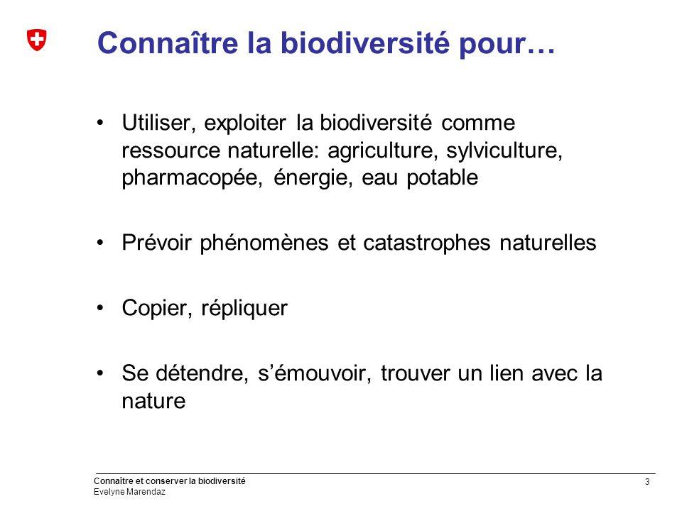 14 Connaître et conserver la biodiversité Evelyne Marendaz Premières pistes de réflexion Biodiversité dépend de l'espace disponible et de la qualité de l'environnement.
