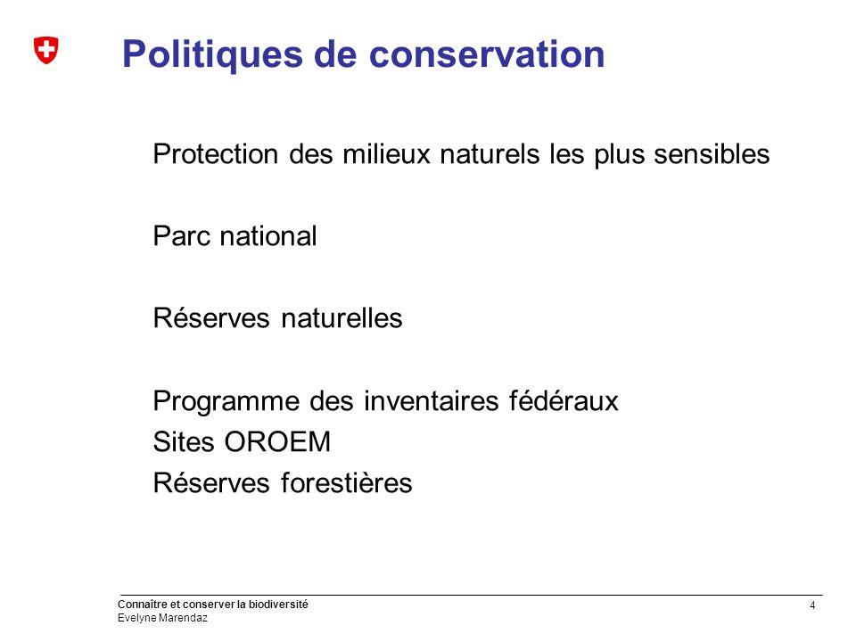 15 Connaître et conserver la biodiversité Evelyne Marendaz Premières pistes de réflexion Définition d'objectifs mesurables aux niveaux général et sectoriel Intégration des partenaires dans la définition des plans de mesures Tenir compte de l'évolution climatique et de la tendance à la globalisation Préserver les acquis des phases précédentes