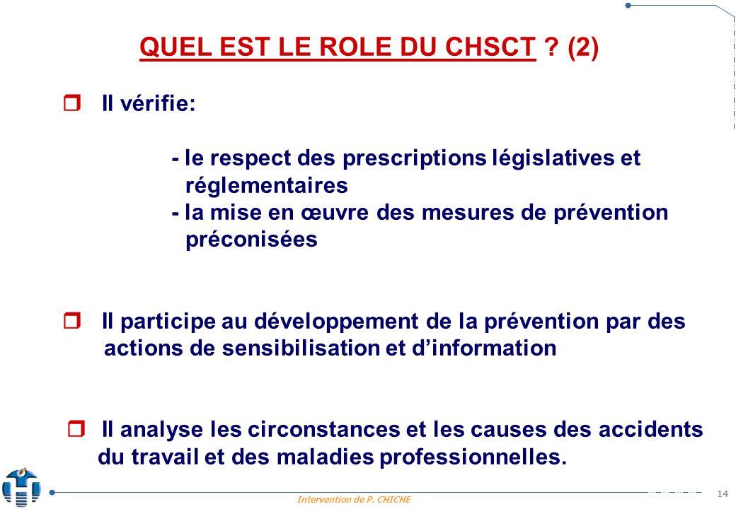 Intervention de P.CHICHE 14 QUEL EST LE ROLE DU CHSCT .