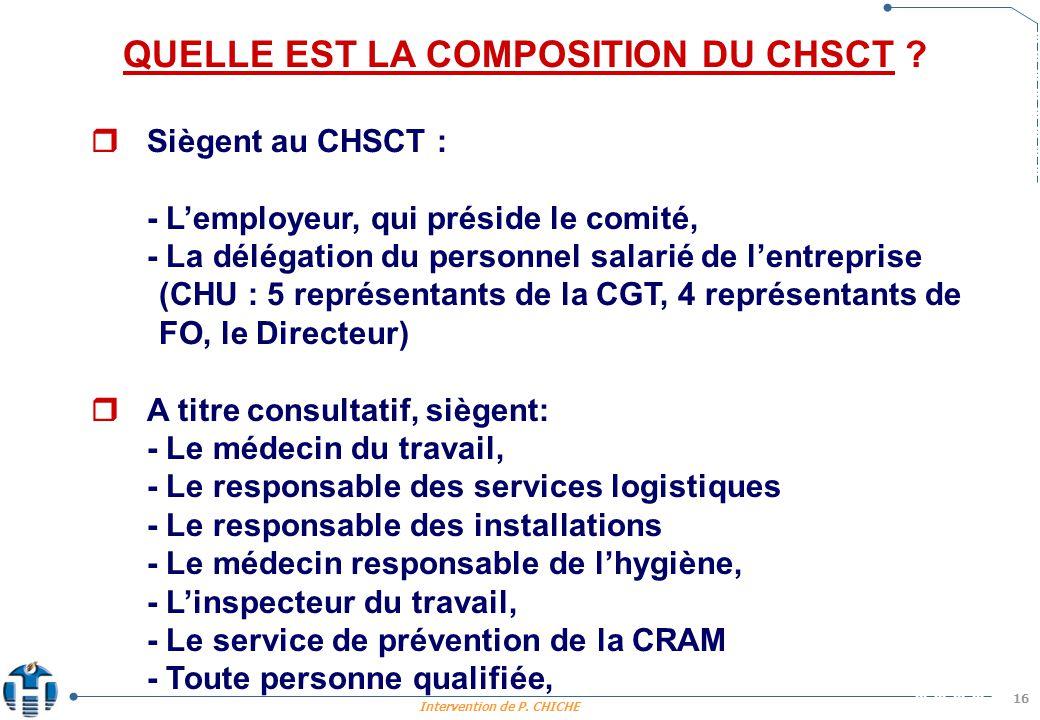 Intervention de P.CHICHE 16 QUELLE EST LA COMPOSITION DU CHSCT .