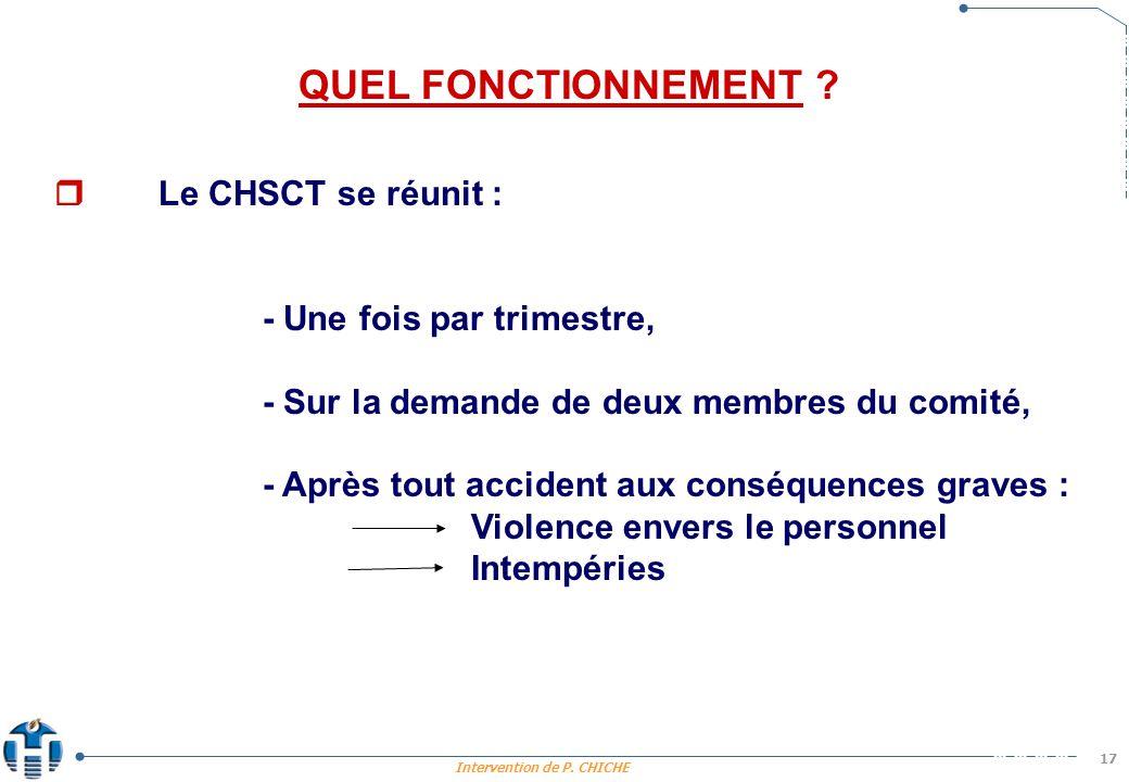 Intervention de P.CHICHE 17 QUEL FONCTIONNEMENT .