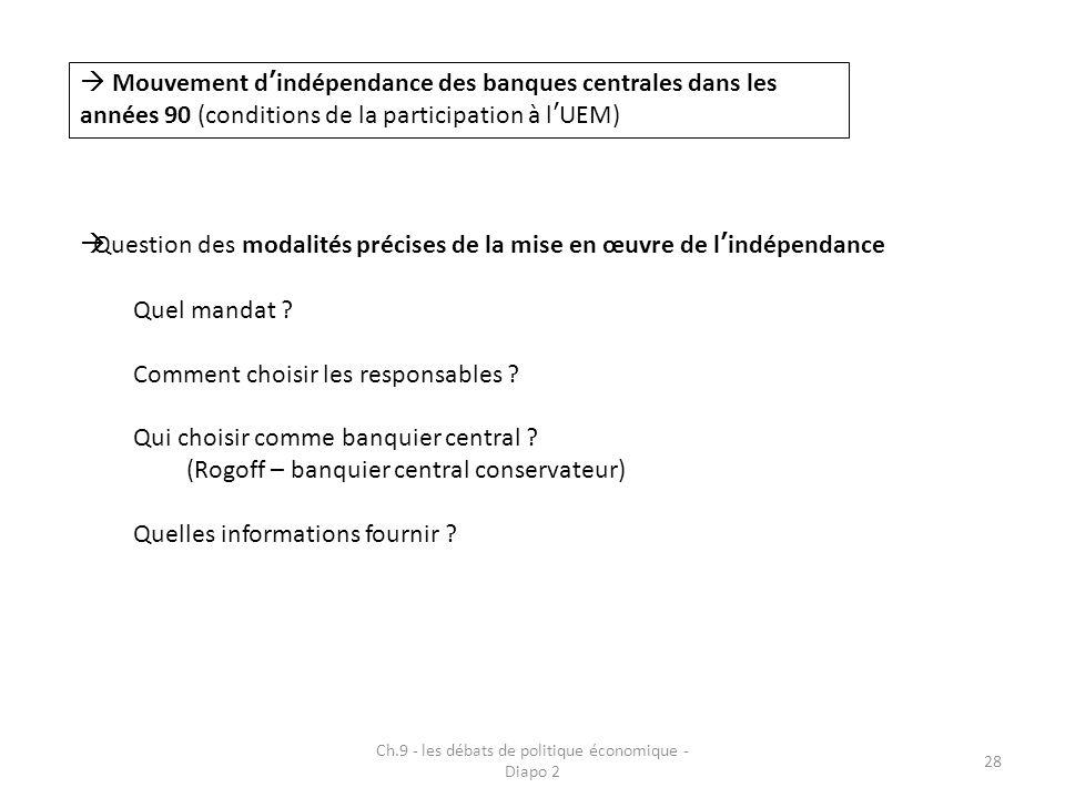 Ch.9 - les débats de politique économique - Diapo 2 28  Mouvement d'indépendance des banques centrales dans les années 90 (conditions de la participa
