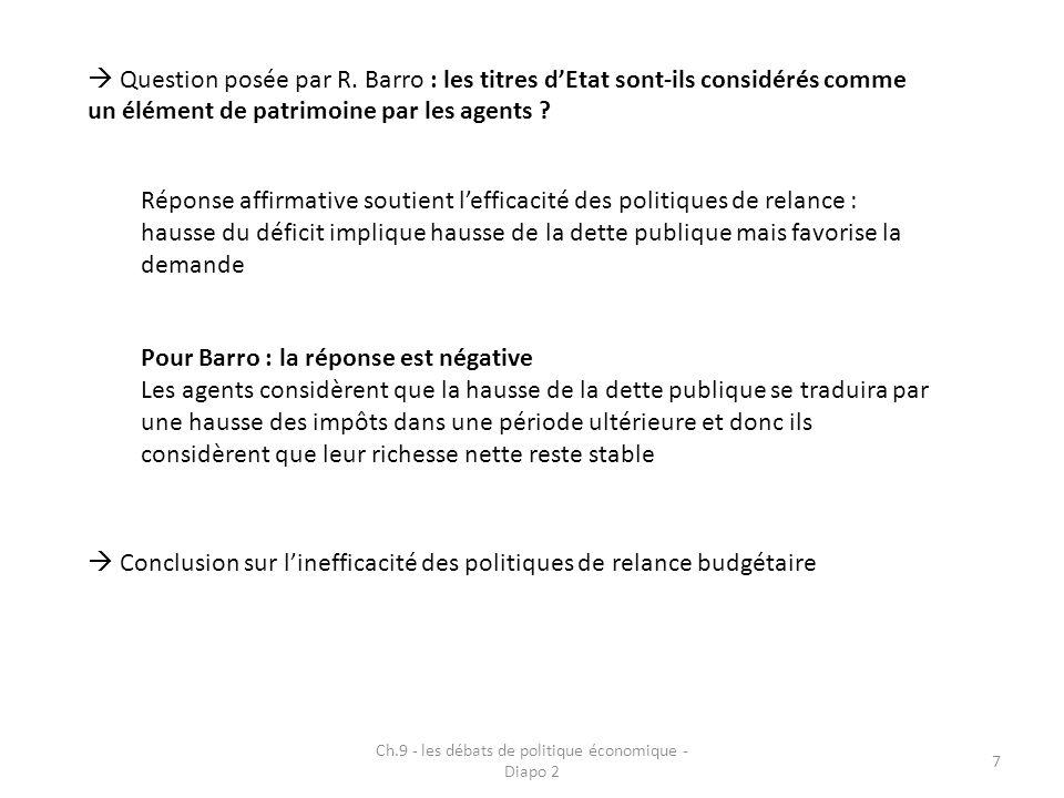 Ch.9 - les débats de politique économique - Diapo 2 7  Question posée par R. Barro : les titres d'Etat sont-ils considérés comme un élément de patrim