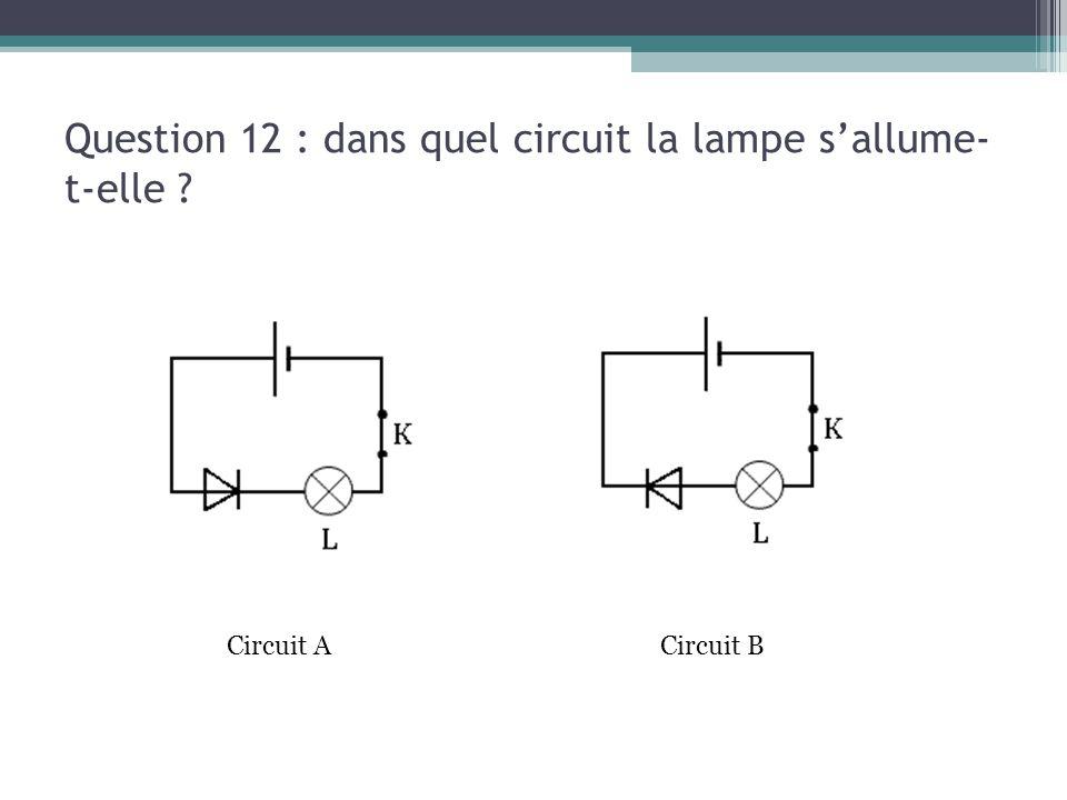 Question 12 : dans quel circuit la lampe s'allume- t-elle ? Circuit ACircuit B
