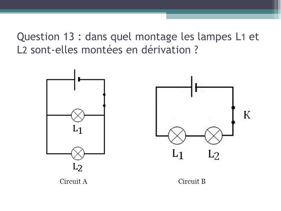 Question 13 : dans quel montage les lampes L 1 et L 2 sont-elles montées en dérivation ? Circuit ACircuit B