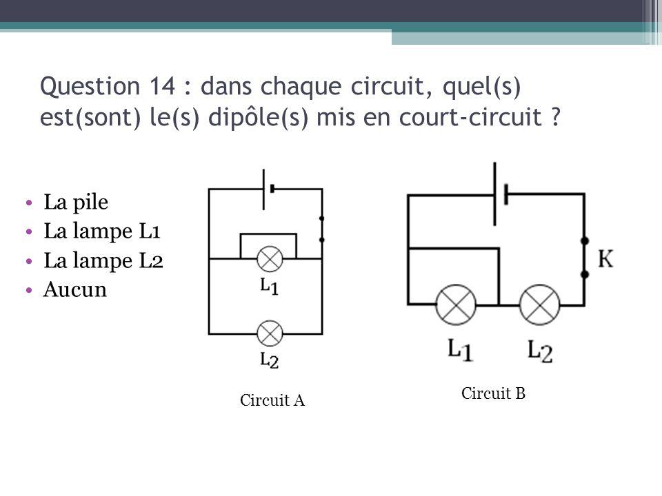 Question 14 : dans chaque circuit, quel(s) est(sont) le(s) dipôle(s) mis en court-circuit ? La pile La lampe L1 La lampe L2 Aucun Circuit B Circuit A