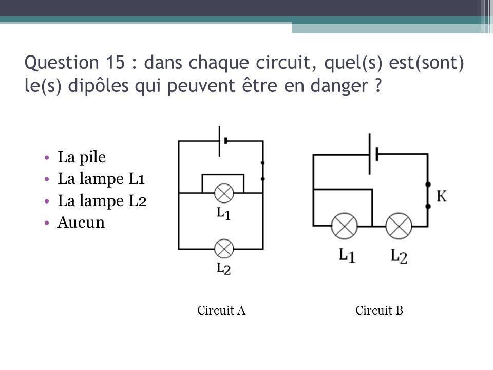 Question 15 : dans chaque circuit, quel(s) est(sont) le(s) dipôles qui peuvent être en danger ? La pile La lampe L1 La lampe L2 Aucun Circuit BCircuit