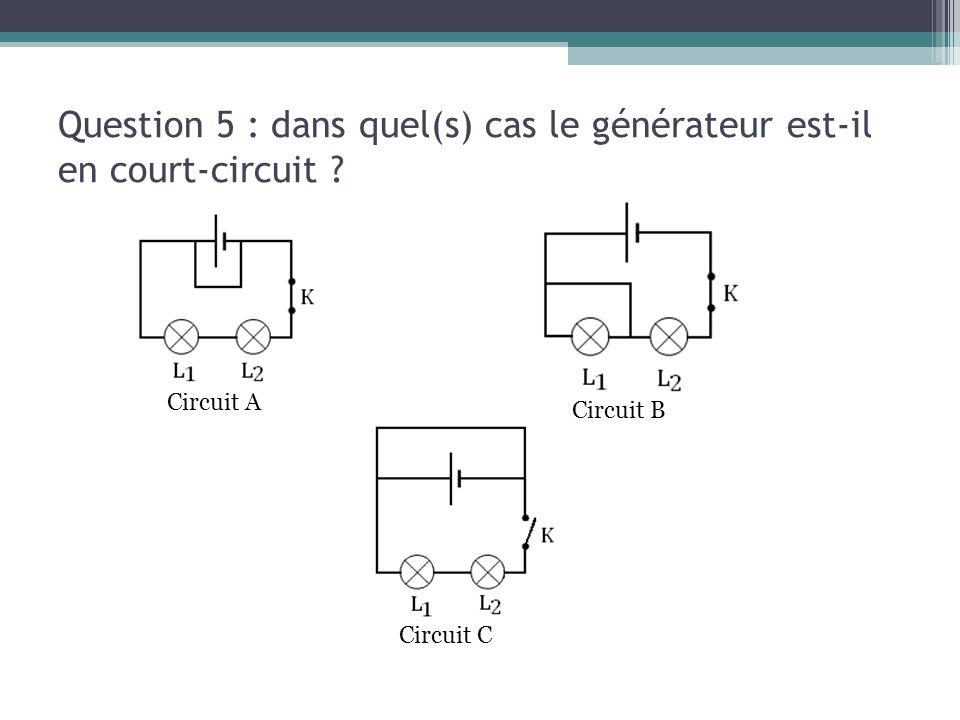 Question 5 : dans quel(s) cas le générateur est-il en court-circuit ? Circuit A Circuit B Circuit C