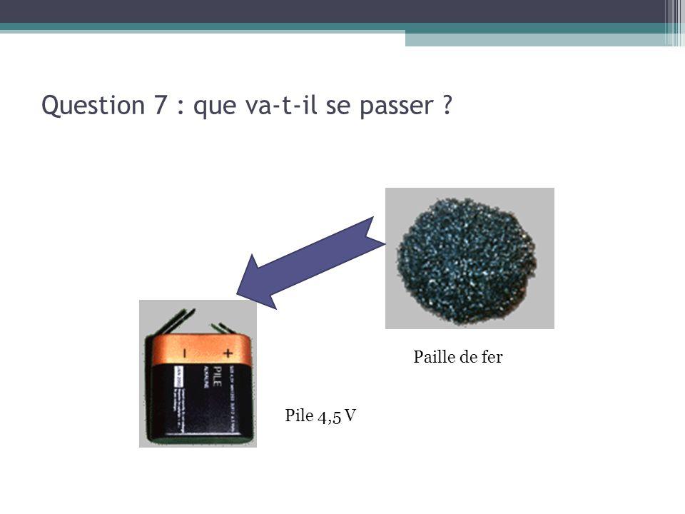 Question 7 : que va-t-il se passer ? Pile 4,5 V Paille de fer