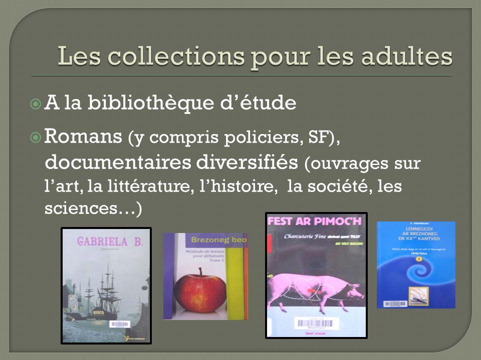  A la bibliothèque d'étude  Romans (y compris policiers, SF), documentaires diversifiés (ouvrages sur l'art, la littérature, l'histoire, la société, les sciences…)