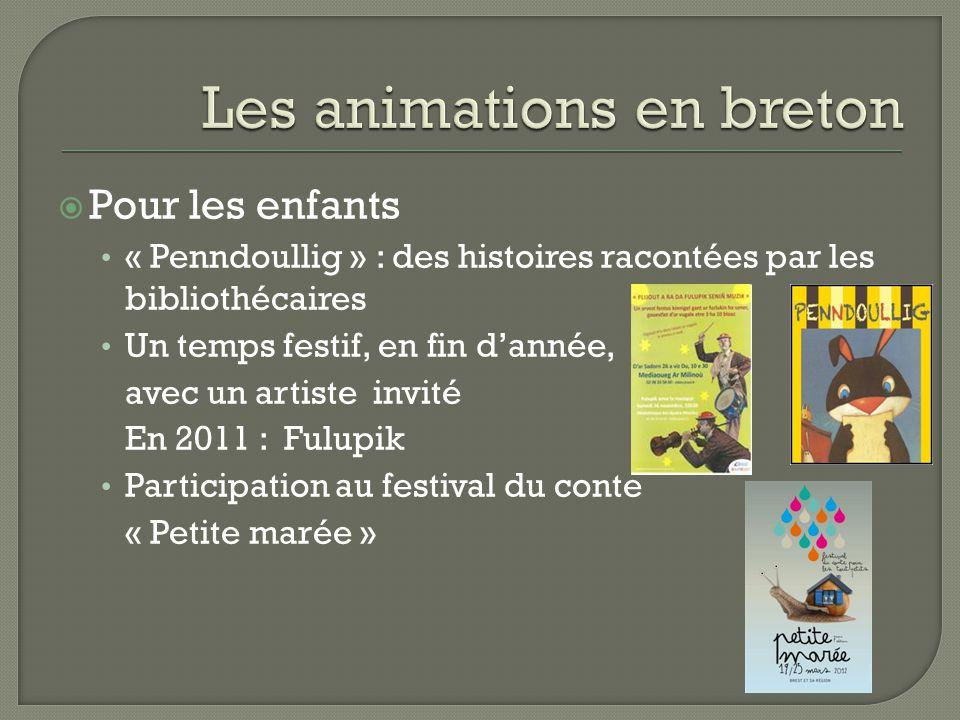  Pour les enfants « Penndoullig » : des histoires racontées par les bibliothécaires Un temps festif, en fin d'année, avec un artiste invité En 2011 : Fulupik Participation au festival du conte « Petite marée »