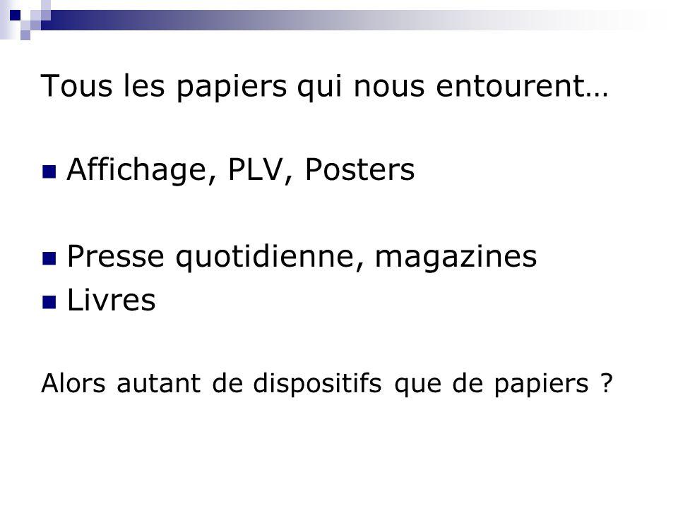 Tous les papiers qui nous entourent… Affichage, PLV, Posters Presse quotidienne, magazines Livres Alors autant de dispositifs que de papiers ?