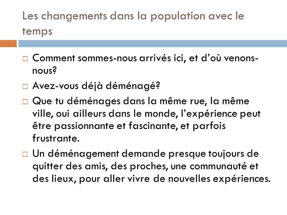 Les changements dans la population avec le temps  Le mouvement de personnes vers un nouveau pays s'appelle l'immigration.
