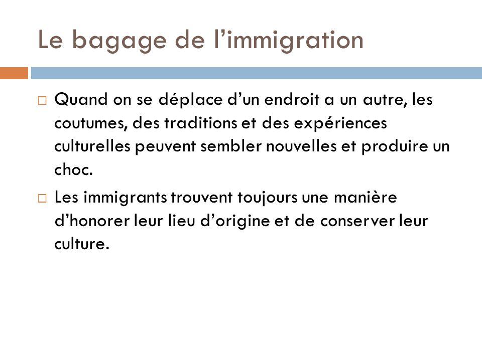 Le bagage de l'immigration  Quand on se déplace d'un endroit a un autre, les coutumes, des traditions et des expériences culturelles peuvent sembler nouvelles et produire un choc.