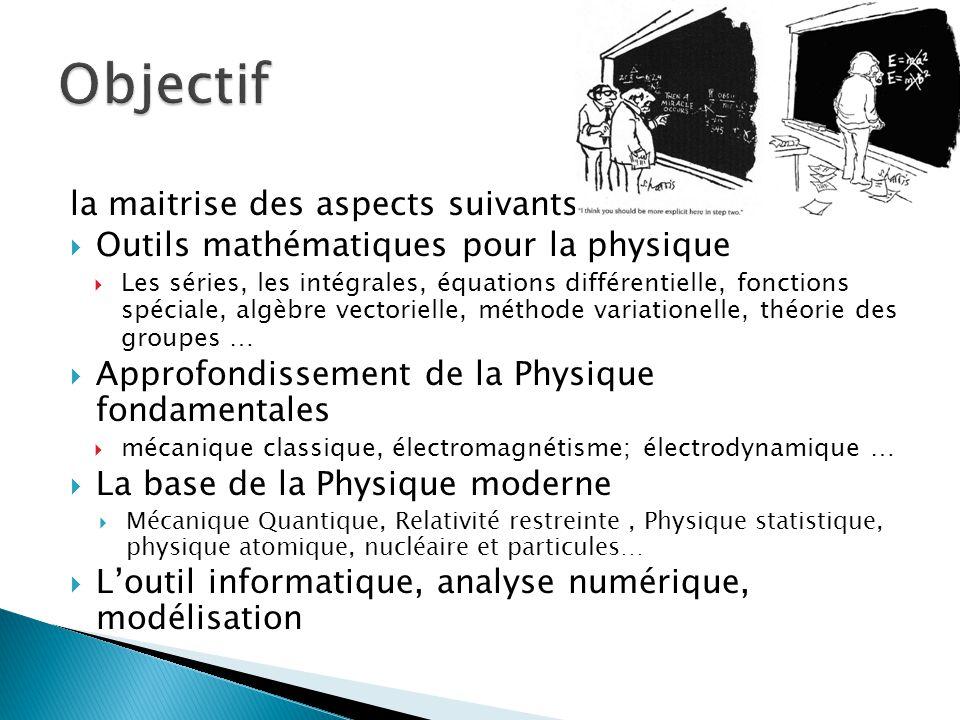 la maitrise des aspects suivants:  Outils mathématiques pour la physique  Les séries, les intégrales, équations différentielle, fonctions spéciale,