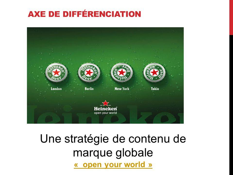 AXE DE DIFFÉRENCIATION Une stratégie de contenu de marque globale « open your world » « open your world »