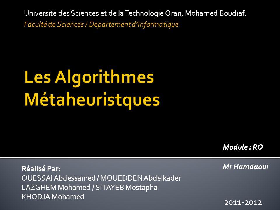  Introduction Générale  Algorithmes  1.Les Algorithmes Génétiques.