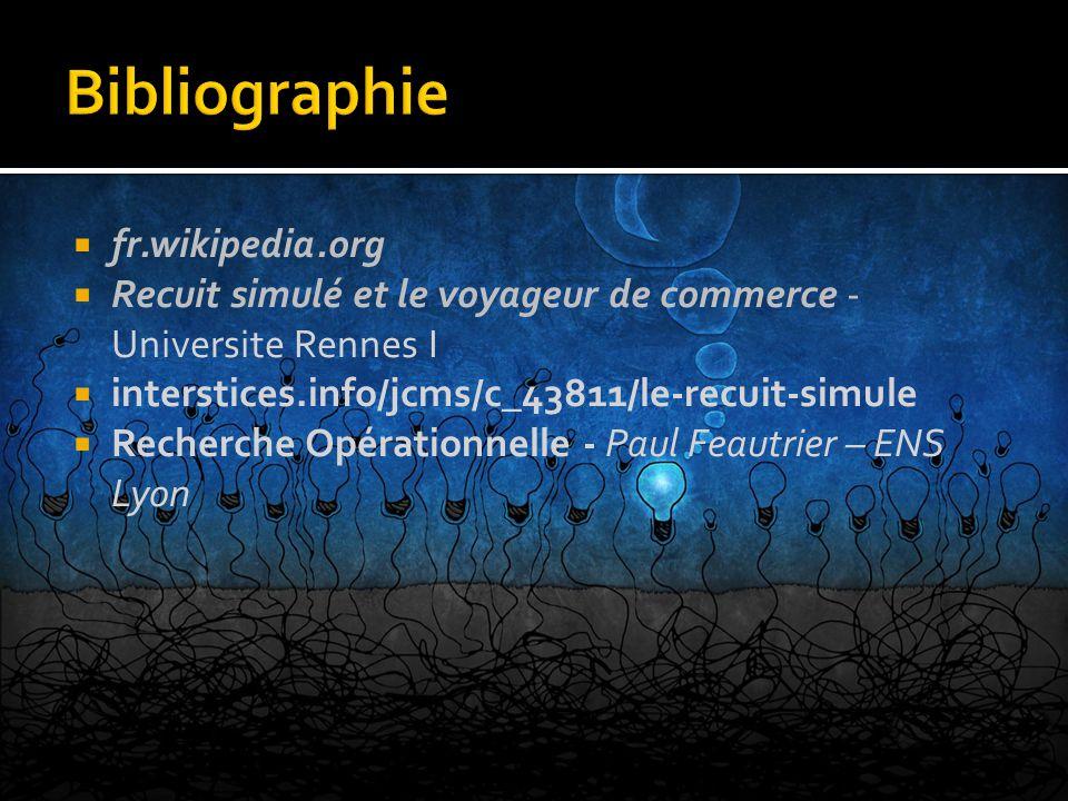  fr.wikipedia.org  Recuit simulé et le voyageur de commerce - Universite Rennes I  interstices.info/jcms/c_43811/le-recuit-simule  Recherche Opéra