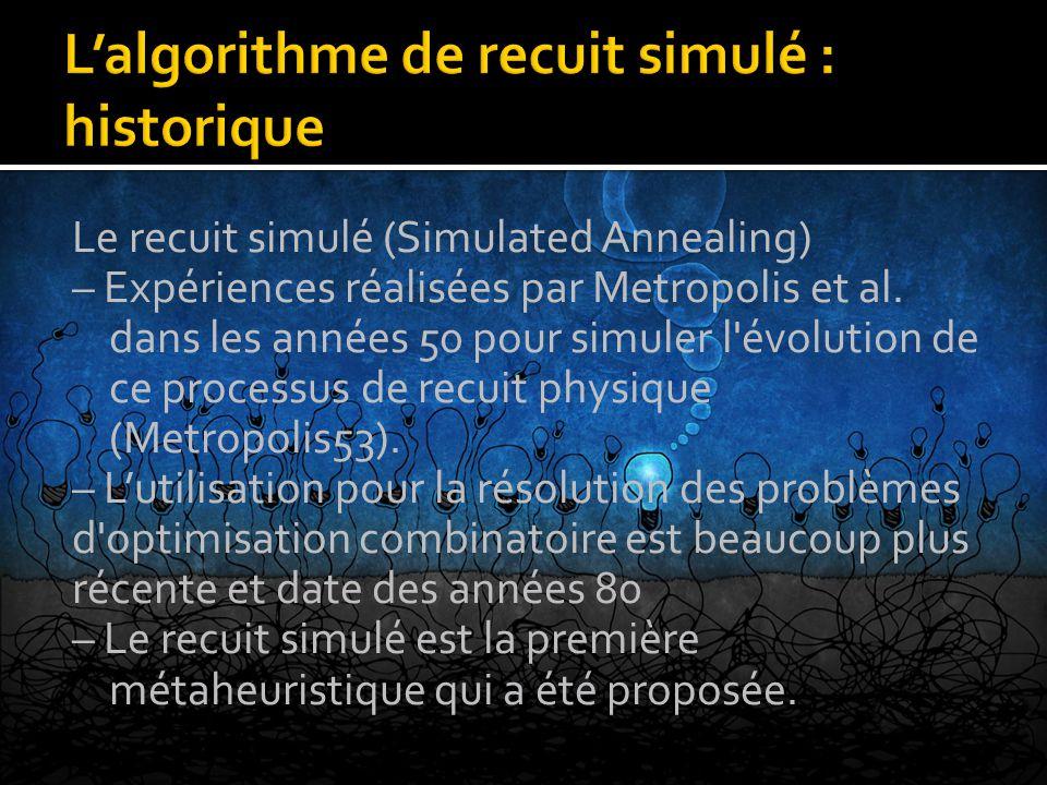Le recuit simulé (Simulated Annealing) – Expériences réalisées par Metropolis et al. dans les années 50 pour simuler l'évolution de ce processus de re