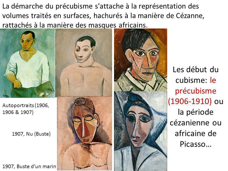 Les début du cubisme: le précubisme (1906-1910) ou la période cézanienne ou africaine de Picasso… Autoportraits (1906, 1906 & 1907) 1907, Buste d'un m