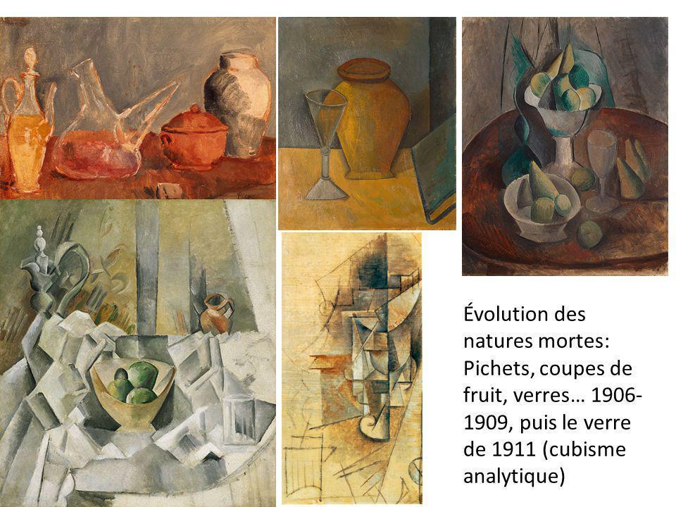 Évolution des natures mortes: Pichets, coupes de fruit, verres… 1906- 1909, puis le verre de 1911 (cubisme analytique)