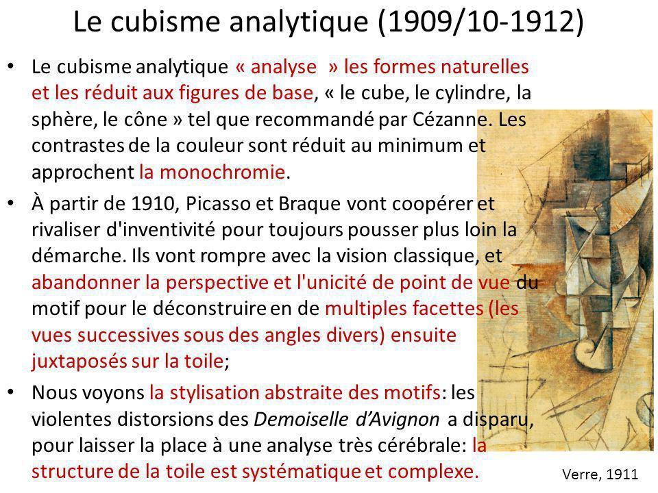 Le cubisme analytique (1909/10-1912) Le cubisme analytique « analyse » les formes naturelles et les réduit aux figures de base, « le cube, le cylindre