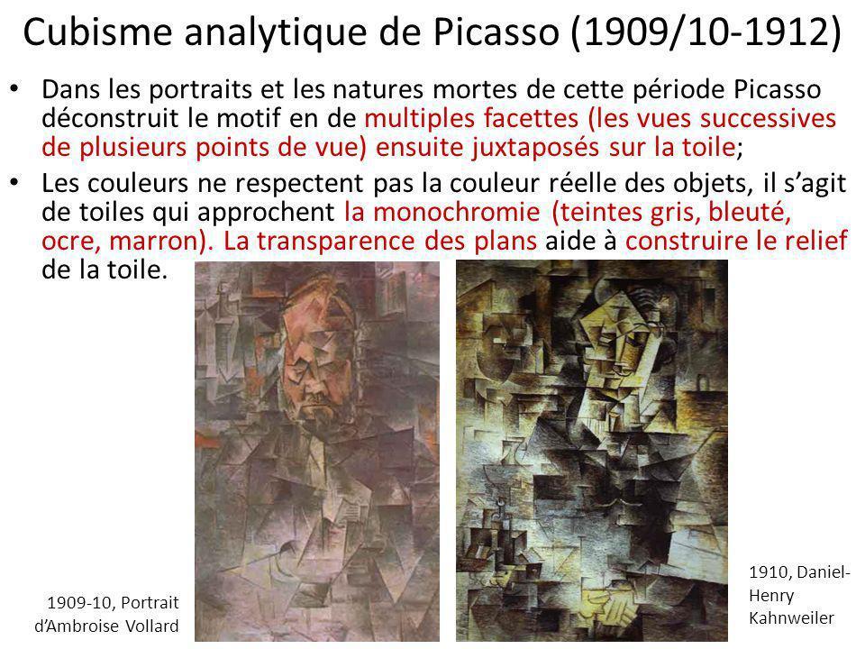 Cubisme analytique de Picasso (1909/10-1912) Dans les portraits et les natures mortes de cette période Picasso déconstruit le motif en de multiples fa