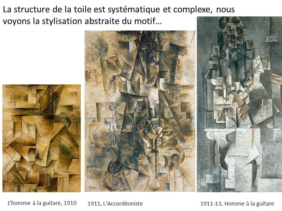 L'homme à la guitare, 1910 1911-13, Homme à la guitare1911, L'Accordéoniste La structure de la toile est systématique et complexe, nous voyons la styl