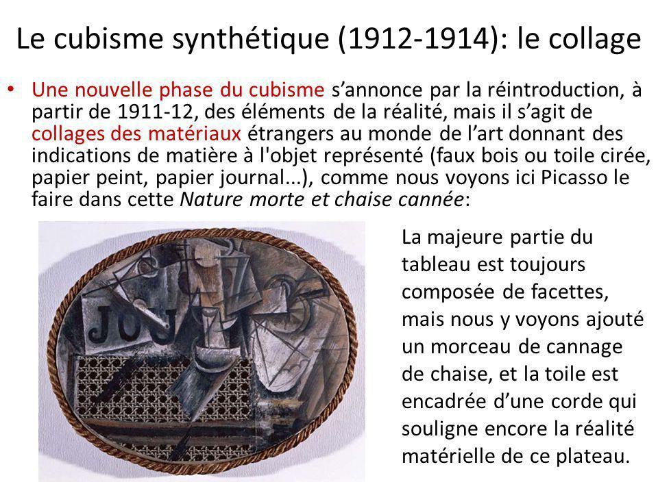 Le cubisme synthétique (1912-1914): le collage Une nouvelle phase du cubisme s'annonce par la réintroduction, à partir de 1911-12, des éléments de la