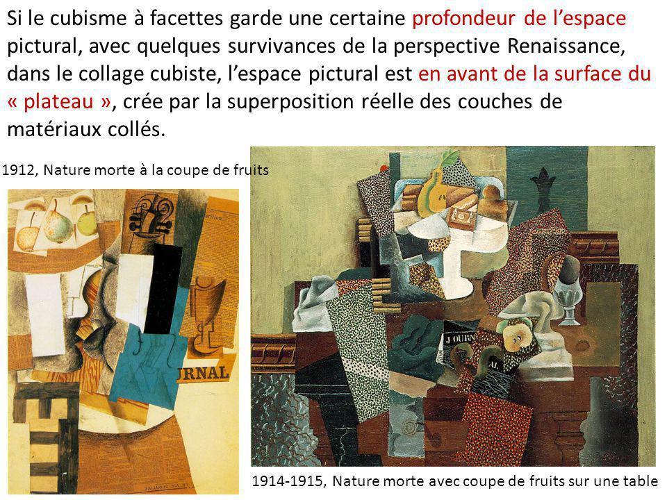 1914-1915, Nature morte avec coupe de fruits sur une table 1912, Nature morte à la coupe de fruits Si le cubisme à facettes garde une certaine profond