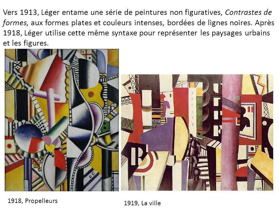 Vers 1913, Léger entame une série de peintures non figuratives, Contrastes de formes, aux formes plates et couleurs intenses, bordées de lignes noires