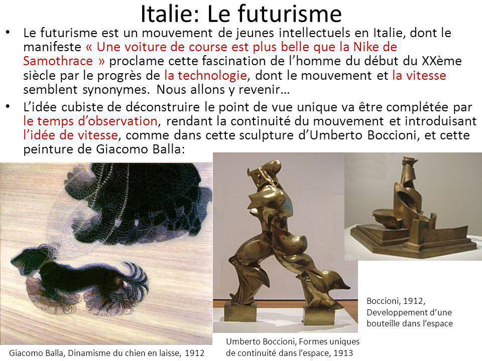 Italie: Le futurisme Le futurisme est un mouvement de jeunes intellectuels en Italie, dont le manifeste « Une voiture de course est plus belle que la