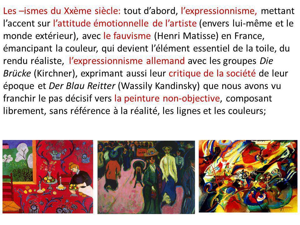 Les –ismes du Xxème siècle: tout d'abord, l'expressionnisme, mettant l'accent sur l'attitude émotionnelle de l'artiste (envers lui-même et le monde ex