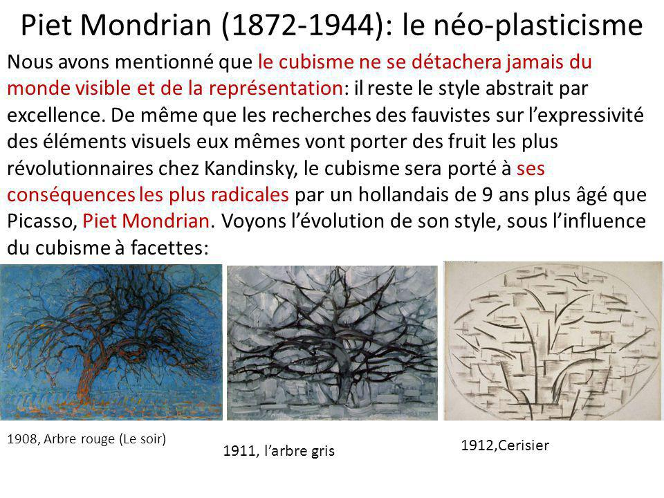 Piet Mondrian (1872-1944): le néo-plasticisme 1908, Arbre rouge (Le soir) 1911, l'arbre gris 1912,Cerisier Nous avons mentionné que le cubisme ne se d