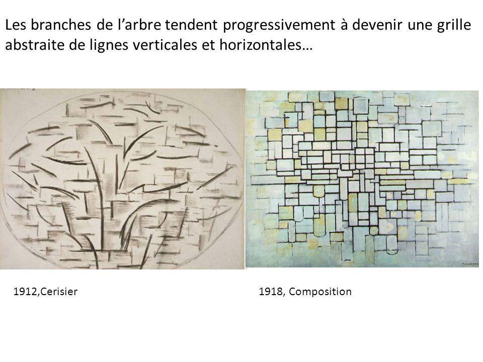 Les branches de l'arbre tendent progressivement à devenir une grille abstraite de lignes verticales et horizontales… 1912,Cerisier1918, Composition